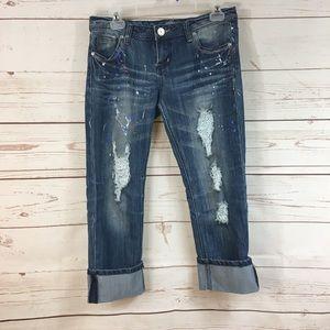 Almost Famous Distressed Capri Pants